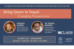 Being Queer in Nepal: Changing Perspectives Poster. Featuring Niranjan Kunwar and Dr. Debanuj Dasgupta on March 3rd 2021 via Zoom.